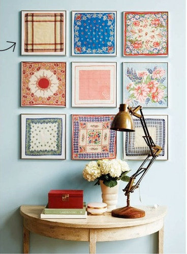 Here you'll find vintage fabrics and unique ways to display them.