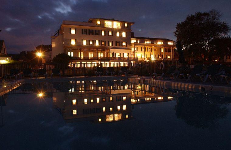 The Emerson Inn at night.