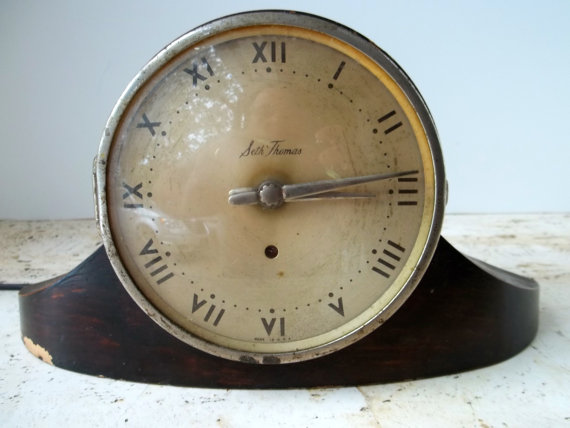 Antique Seth Thomas Wood Mantle Clock from OneReDunn, $129.99