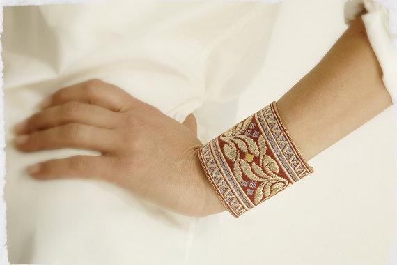 Handmade Vintage French Silk Ribbon Bracelet Cuff by Rubanesque