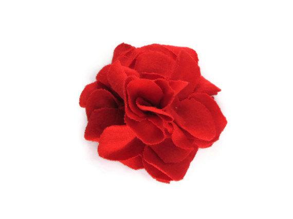 Cardinal Red Flower Pin & Hair Clip from ArtTx
