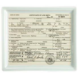 The Obama Birther Certificate Tray exclusively from Fishs Eddy.