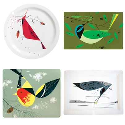 A sampling of the Todd Oldham + Charley Harper collection for Fishs Eddy. clockwise top left: (1) Cardinal dinner plate (2) Green Jay Placemat (3) Eskimo Curlew Tray (4) Western Tanager Coaster. All items avaiable at fishseddy.com