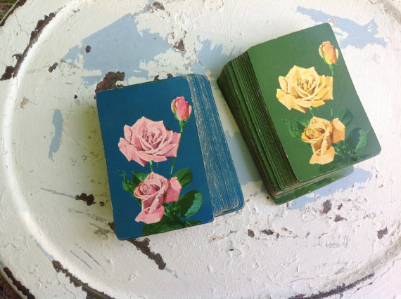 Vintage Floral playing cards from 2BlueDogsDesign