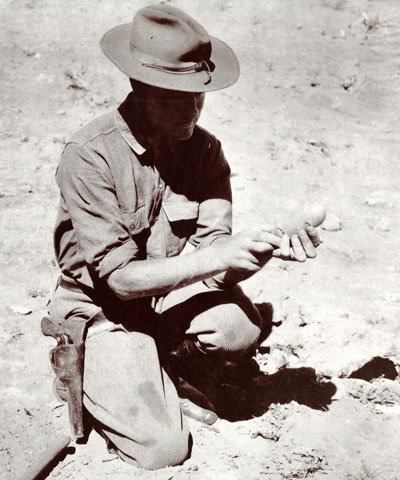 Andrews and the soon to be famous eggs found in the Gobi Desert in 1931. Photo courtesy of mongoliatravels.com