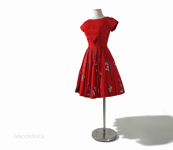 Vintage 1960's Red Dress from Catbooks1940s. (Click for more info)