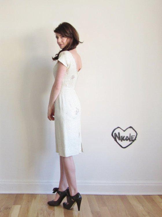 1950 White Sequin Dress.