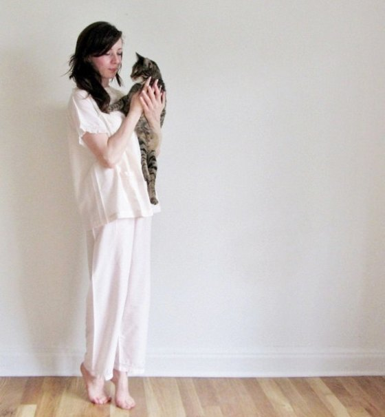 With kitty and the pink Mid-Century pajamas.