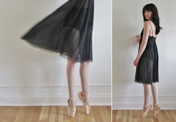 Vintage 1960's sheer black slip.