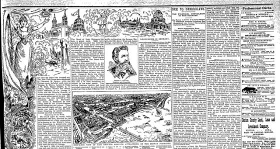 In illustrated glory, all the details of the World's Fair as reported by The Vinton Eagle in a July 1893  edition