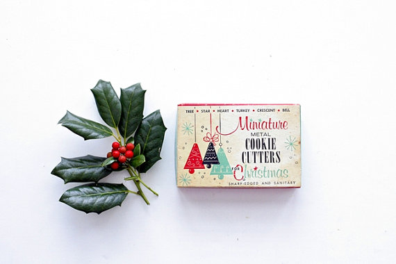 Vintage Miniature Metal Christmas Cookie Cutters (set of six!)