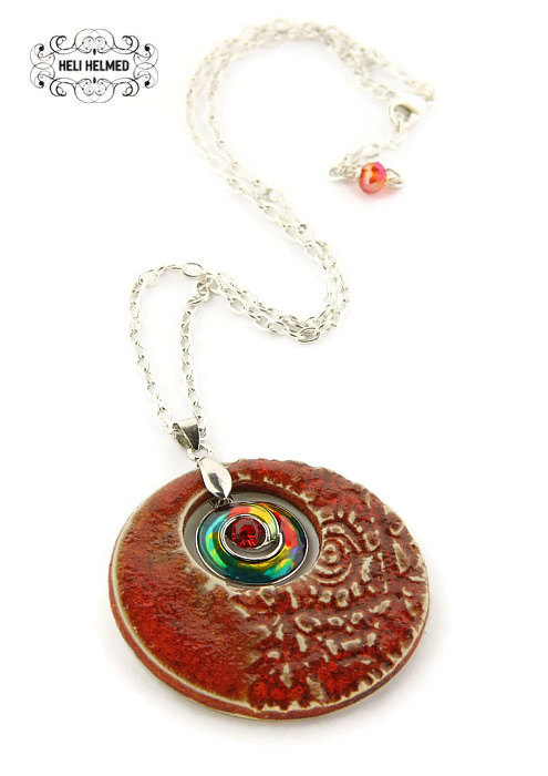Ceramic Necklace Pendant made by  Helihelmed - $18.26