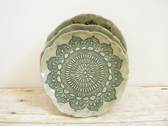 Ceramic lace plate made by My mother's Garden - $16.00