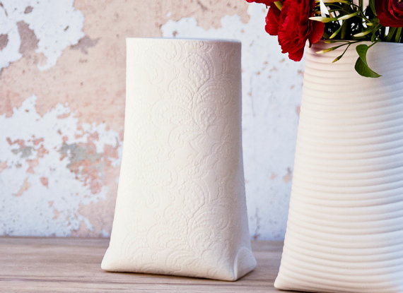 Porcelain lace vase made by wapa - $105.00