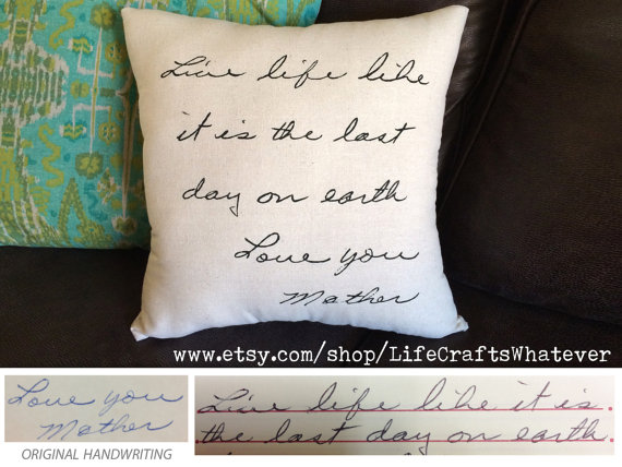 Handwritten signature pillow made by LifeCraftsWhatever