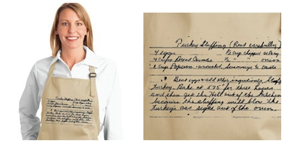 Custom Recipes in Custom Handwriting on an Apron made by LindsayBurkeDesigns