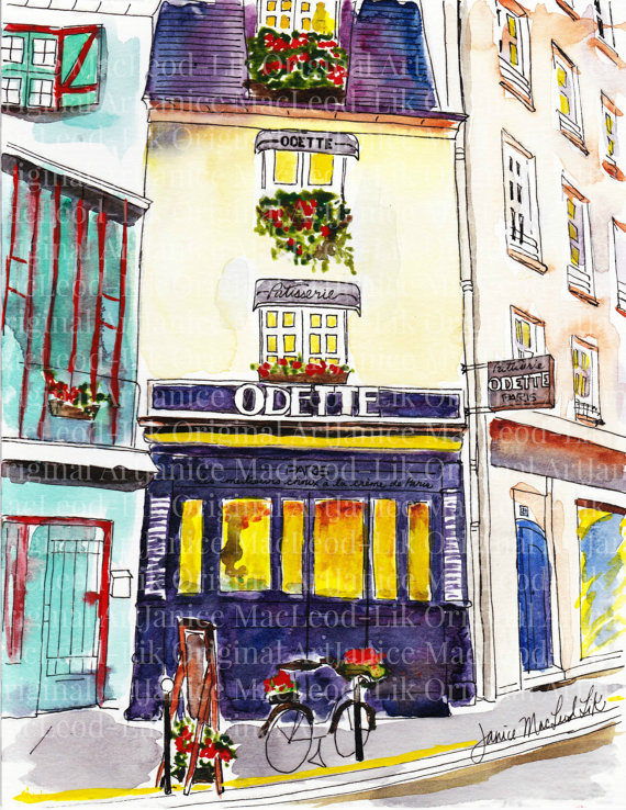 Paintings of Janice's adventures in Paris are available for sale by clicking on this image