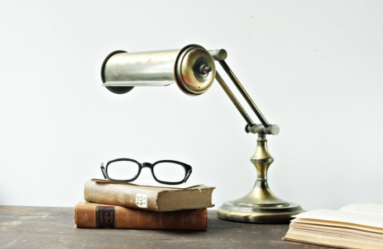 Vintage Brass Library Lamp