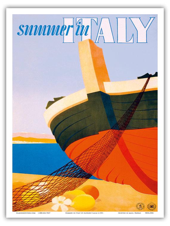 Vintage Italian Travel Poster by Island Art Store via Etsy