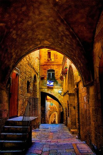 An alley in the Jewish Quarter in the old city of Jerusalem, Israel. Photo via pinterest.