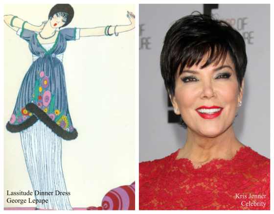 Back in the Kardashian camp, mom Kris Jenner and George Lepape's fashion illustration for Paul Poiret titled Lassistude Dinner Dress was sketched and painted in the 1920's