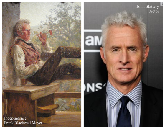 Actor John Slattery (also of Mad Men fame) and Frank Blackwell Meyer's 1858 painting titled Independence