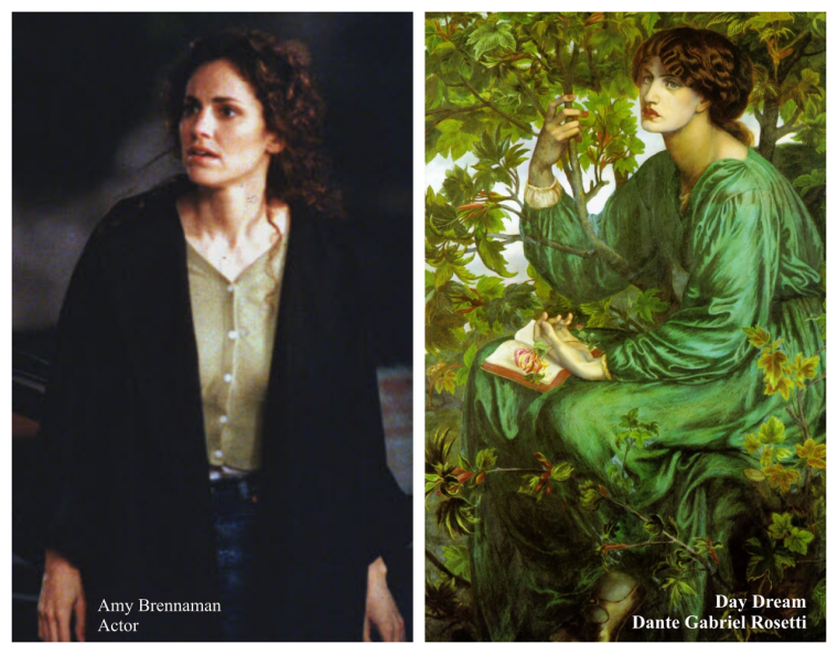Film and television actor Amy Brennaman and the artist muse Jane Burden fro Dante Gabriel Rosetti's Day Dream painted in 1880