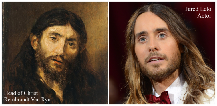 Actor Jared Leto and Rembrandt's portrayal of the Head of Christ painted in 1648
