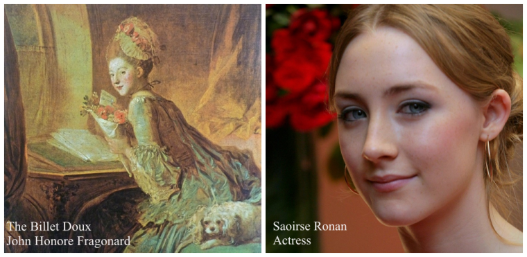 Actress Saoirse Ronan and John Honore Fragonard's The Billet Doux (meaning the love letter) painted in the 1770's