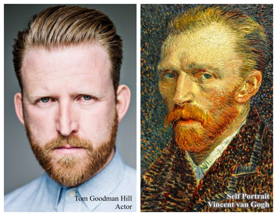 Actor Tom Goodman Hill (from the PBS tv show Mr. Selfrdge) and Vncent Van Gogh's self portrait while painted in asylum in 1889