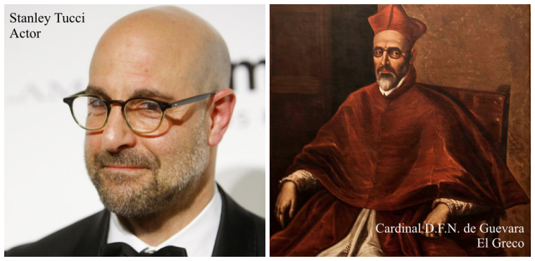 Actor Stanley Tucci and the portrait of Cardinal Don Fernando Nino de Guevara painted by Greek artist El Greco in 1600