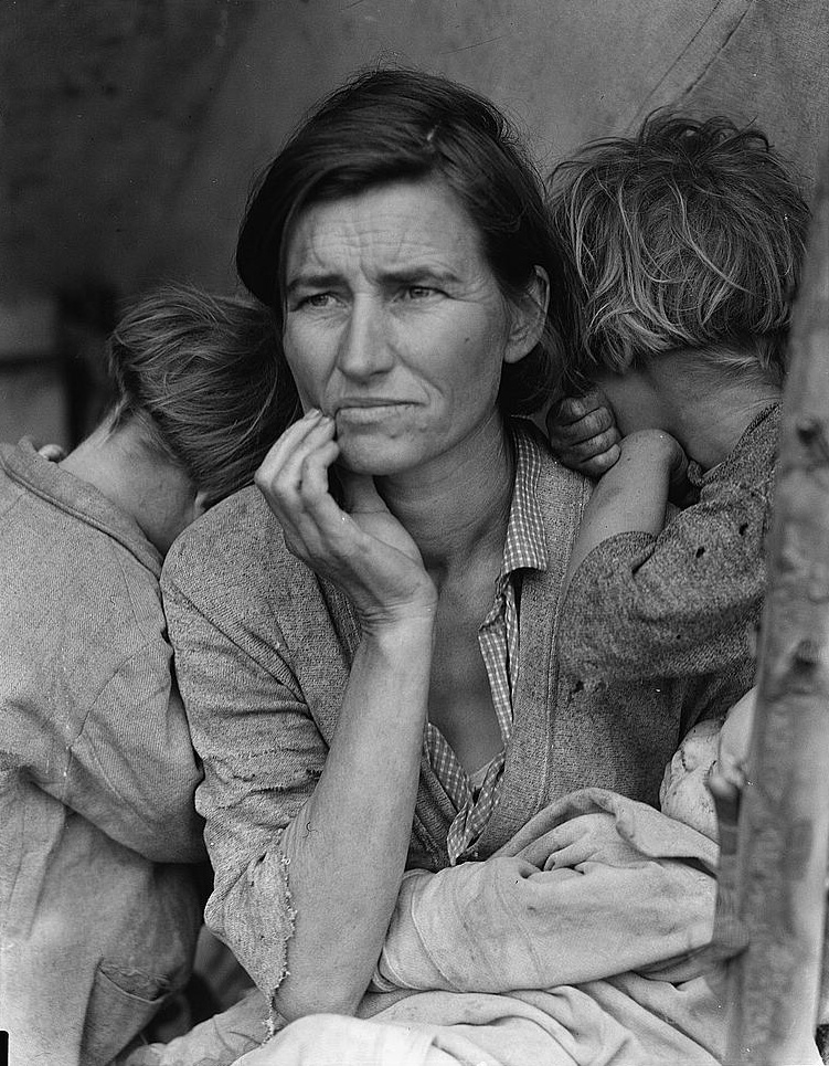 Dorthea Lange's most well-known photograph, The Migrant Mother, taken in 1936