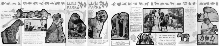 The 1920's Luna Park Zoo brochure which features Olga on the very far right. Brochure photograph courtesy of lincolnheightsla.com