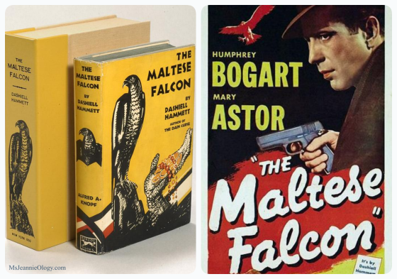 Dashiell Hammett wrote The Maltese Falcon in 1930. It became a popular film-noir in 1941 thanks to Humphrey Bogart.