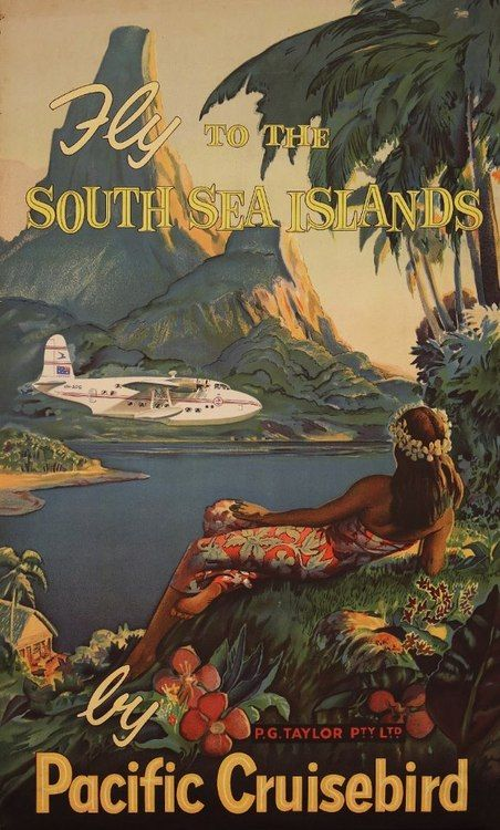 Vintage Tahiti travel poster.