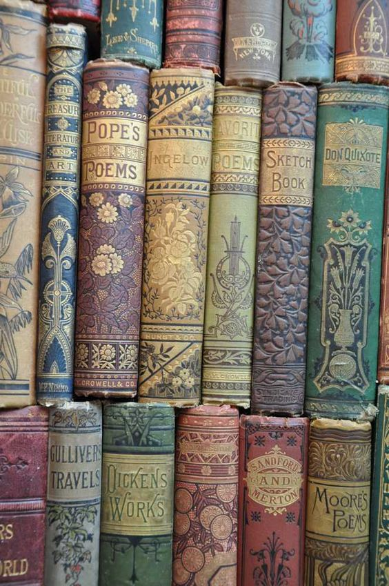 This is an antique collection with gorgeous decorated book spines.