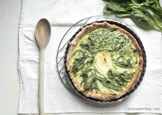 Camembert, Sweet Onion & Spinach Tart