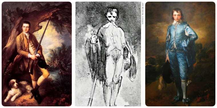 Gainsborough's evolution of style: (left to right) Before studying Van Dyck, sketching like Van Dyck, Painting like van Dyck