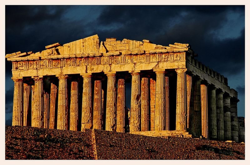 The original Parthenon as it stands in Greece among all its ruined glory.