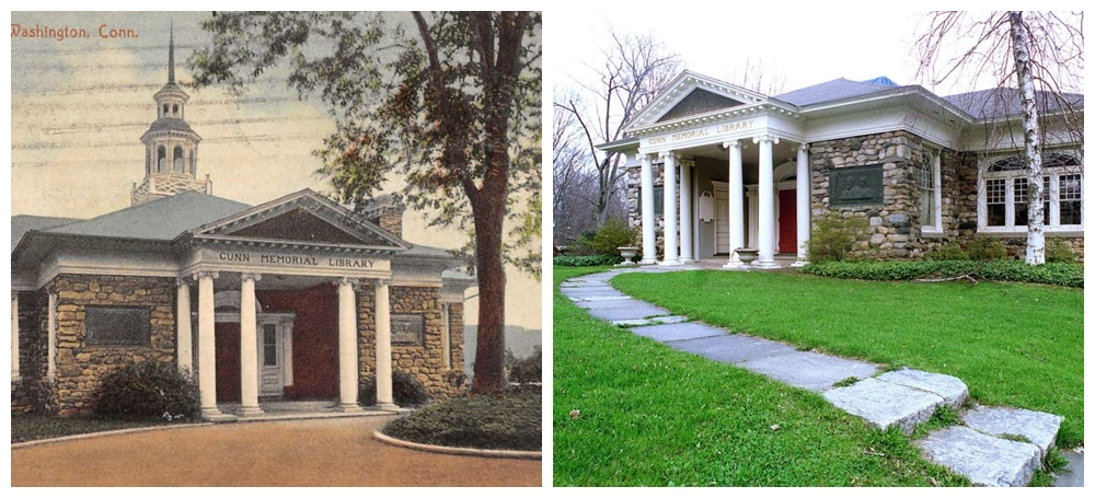 Gunn Memorial Library in the early 1900's (left) and pictured today.