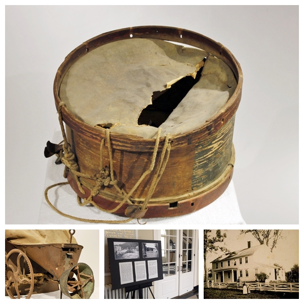 A sampling of items in the museum's collection including a drum owned by revered local New England architect (and local Washington resident!) Ehrick Rossiter,, an old-fashioned seed spreader, antique photographs of local residents and buildings. Pop-up exhibits around town help keep history in the spotlight.