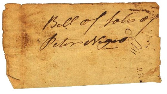 Bill of Sale of a man named Peter in 1762 in Woodbury, CT. Image courtesy of the Mattatuck Museum. For a detailed timeline of slavery in Connecticut from the 1600's - 1800's click here.