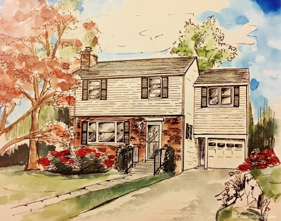 An artistic rendering of Michael and Renee's vintage house!