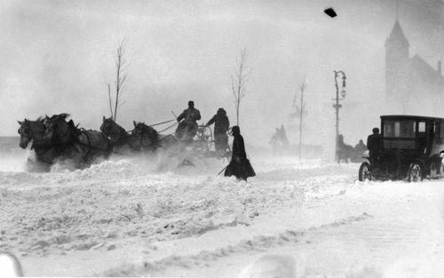Chicago snowplows, 1908