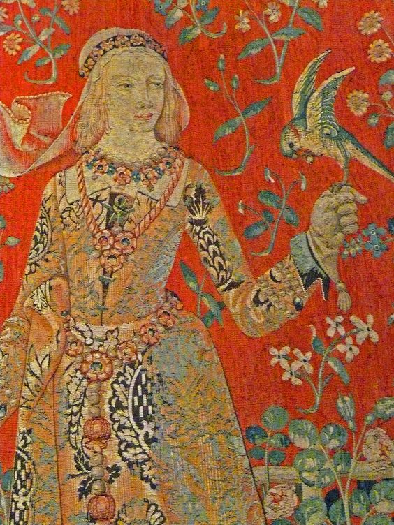 a snippet from the taste panel of the lady and the unicorn tapestry created in